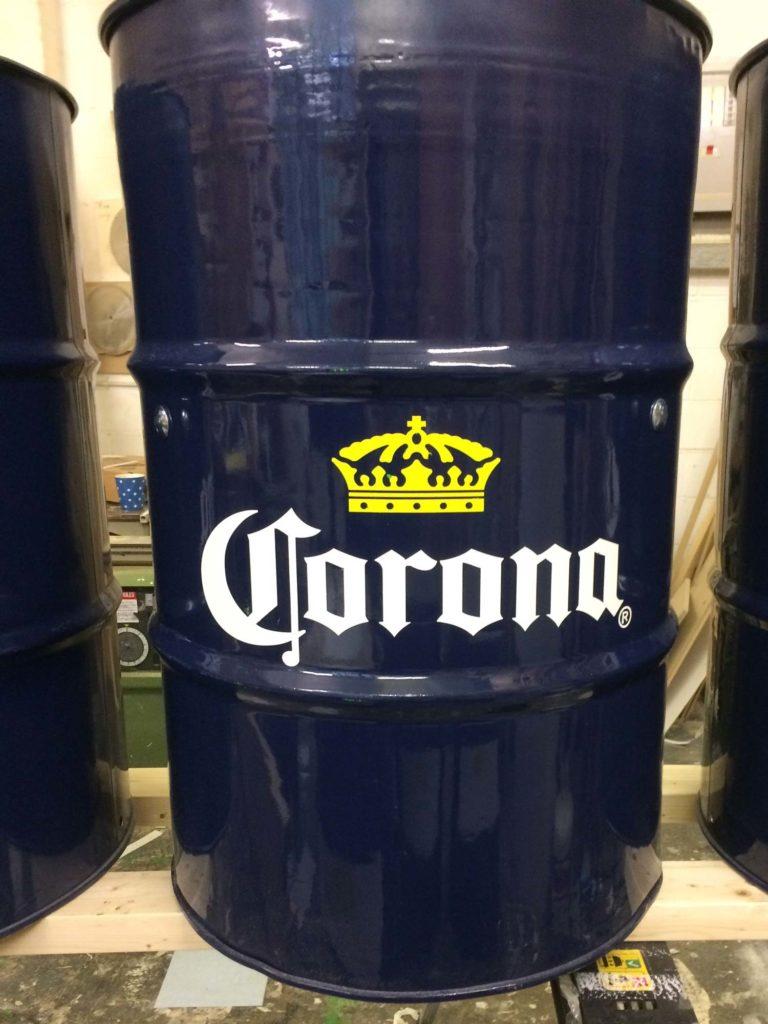 Corona Stencilling on Beer Drums